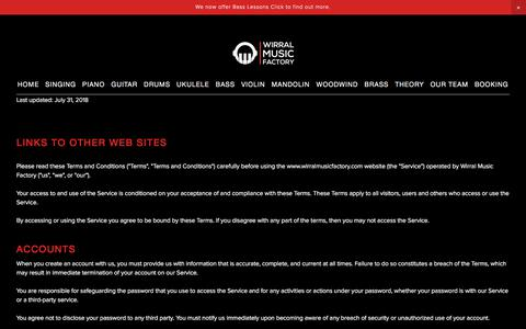 Screenshot of Terms Page wirralmusicfactory.com - Terms — Wirral Music Factory - captured Sept. 20, 2018