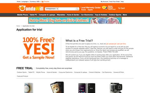 Screenshot of Trial Page pandawill.com - Pandawill Application for trial - captured Oct. 29, 2014