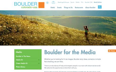 Screenshot of Press Page bouldercoloradousa.com - Boulder Resources and Contacts for the Media - captured Oct. 8, 2017