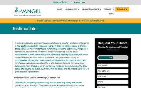 Screenshot of Testimonials Page vangelinc.com - Testimonials from Happy Clients of Vangel, Inc. of Baltimore - captured Oct. 20, 2018