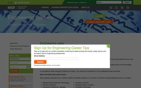 Screenshot of Jobs Page kellyservices.us - Engineering Jobs & Careers |- Mechanical, Biomedical, Engineering Jobs - captured June 27, 2017