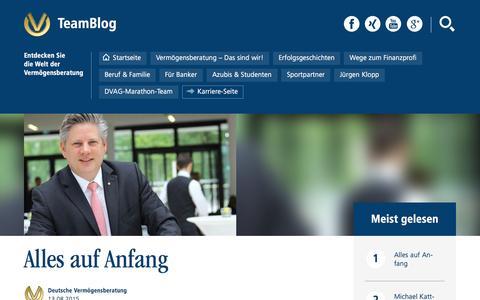 Screenshot of Home Page dvag-teamblog.de - Alles auf Anfang - TeamBlog - captured Sept. 18, 2015