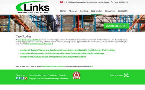 Screenshot of Case Studies Page linkscorp.ca - Case Studies | Links Warehousing & Fulfillment Toronto - captured Sept. 29, 2018