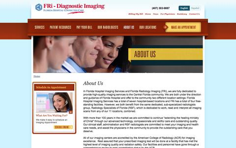 Screenshot of About Page floridahospitalradiology.com - About Us | Imaging Services at Florida Hospital and FRi - captured June 24, 2016