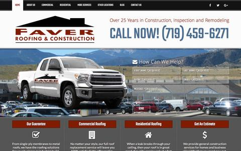 Screenshot of Home Page faverroofing.com - Colorado Springs Roofing Company | Roofer / Roofing Contractor - captured Feb. 9, 2016