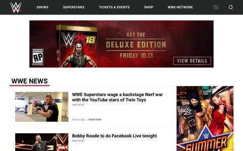 Screenshot of Press Page wwe.com - WWE News | WWE - captured Aug. 12, 2017