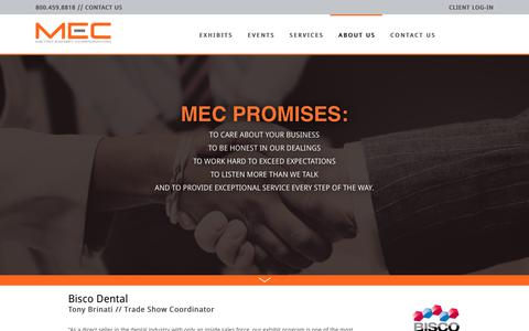 Screenshot of Testimonials Page mecexhibits.com - Our Promise - Metro Exhibit Corporation - captured Oct. 18, 2018