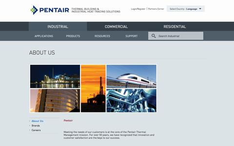 Screenshot of About Page pentairthermal.com - About Us IRaychem | Tracer | Pyrotenax | Pentair Thermal Management Solutions - captured Jan. 27, 2016
