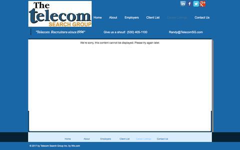 Screenshot of Jobs Page telecomsg.com - Telecom Recruiter Career Listings - captured Oct. 20, 2017