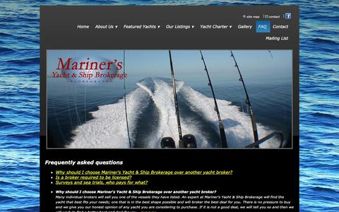 Screenshot of FAQ Page marinersyachts.us - Frequently Asked Questions - captured Oct. 2, 2018
