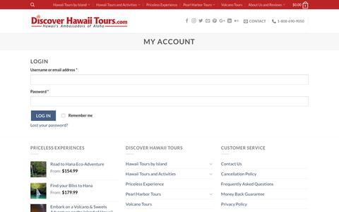 Screenshot of Login Page discoverhawaiitours.com - My Account - Discover Hawaii Tours - captured Aug. 7, 2018