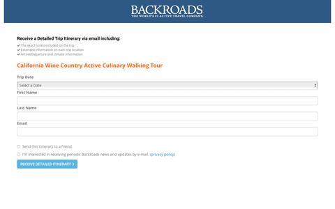 Screenshot of Landing Page backroads.com - MyBackroads - Detailed Itinerary - captured Oct. 1, 2016