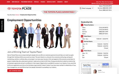 Screenshot of Jobs Page toyotaplace.com - Dealership Automotive Jobs nearWestminster  Toyota Place - captured Nov. 13, 2017