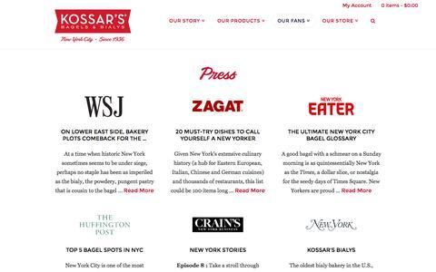 Screenshot of Press Page kossars.com - Kossar's Bakery New York Press Contact & Information - captured June 15, 2016