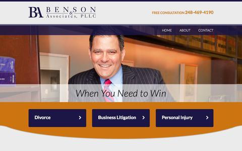 Screenshot of Home Page alexbensonlaw.com - Trial Lawyer Southfield MI | Benson & Associates PLLC | Oakland County - captured Oct. 5, 2014