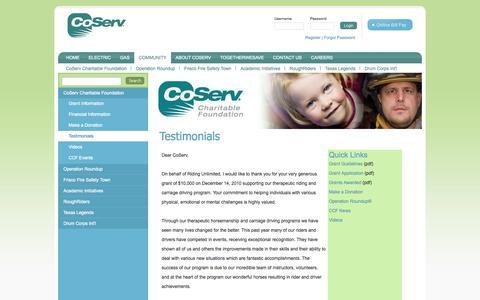 Screenshot of Testimonials Page coserv.com - Community - CoServ Charitable Foundation - Testimonials - captured Sept. 19, 2014