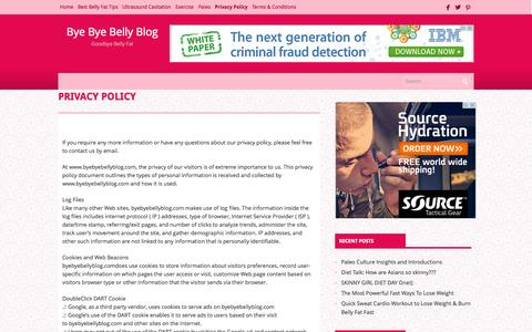 Screenshot of Privacy Page byebyebellyblog.com - Privacy PolicyBye Bye Belly Blog | Bye Bye Belly Blog - captured Oct. 31, 2014