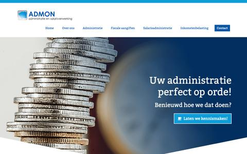 Screenshot of Home Page admon.nl - Administratiekantoor Admon in Diemen - captured Oct. 3, 2018