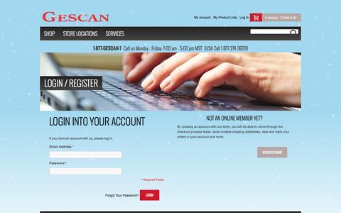 Screenshot of Login Page gescan.com - Create New Customer Account - captured Dec. 9, 2015