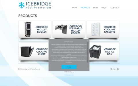 Screenshot of Products Page icebridge.eu - Cooling solution for onboard catering | PRODUCTS - captured Nov. 25, 2016