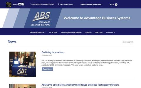 Screenshot of About Page Press Page absms.com - News • Advantage Business Systems - captured Oct. 7, 2017
