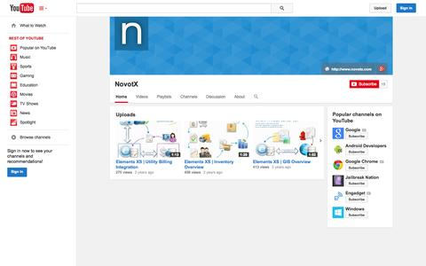 Screenshot of YouTube Page youtube.com - NovotX  - YouTube - captured Oct. 26, 2014