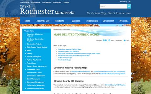 Screenshot of Maps & Directions Page rochestermn.gov - Maps Related to Public Works | Rochester, MN - captured Oct. 20, 2018