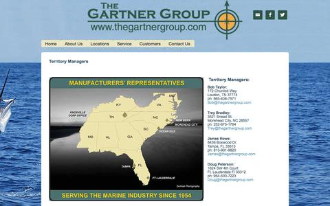Screenshot of Locations Page thegartnergroup.com - Territory Managers - captured Nov. 3, 2014