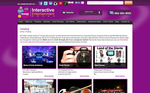 Screenshot of Products Page Services Page interactiveparty.com - Catalog | Interactive Entertainment Concepts, Inc. - captured Oct. 23, 2014