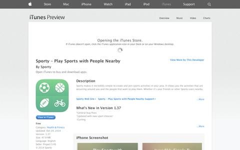 Screenshot of iOS App Page apple.com - Sporty – Play Sports with People Nearby on the App Store on iTunes - captured Dec. 17, 2014