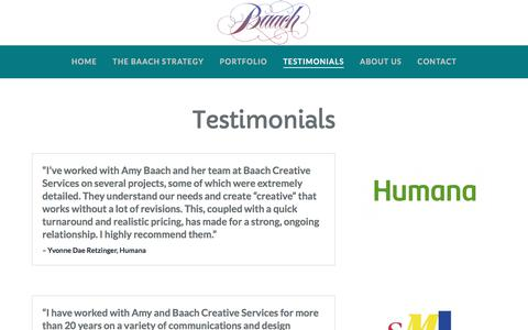 Screenshot of Testimonials Page baach.com - Testimonials - captured Oct. 9, 2017