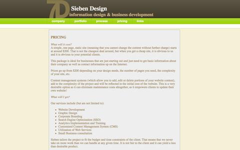 Screenshot of Pricing Page siebendesign.net - Pricing - General guide to how much your Web based project will cost - captured Dec. 19, 2016