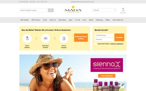 Screenshot of Home Page maha-cosmetics.com - MAHA Cosmetics Onlineshop | Fachgroßhandel für Nageldesign|Kosmetik|Nailart|UV Gel|Shellac|Brisa Lite - captured Feb. 3, 2016