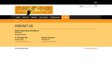 Screenshot of Contact Page stubbs-hensel.com - Stubbs & Hensel Pharma Consulting, helping Pharma and biopharma, moving your backlog of projects through the drug development process | Stubbs & Hensel - captured Dec. 17, 2016