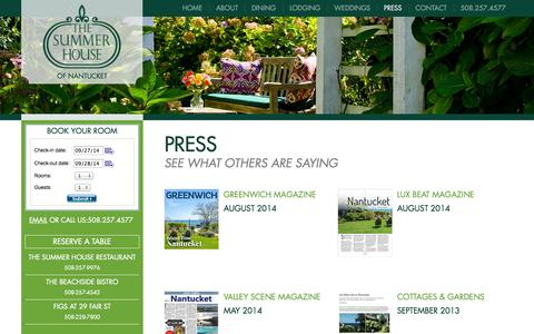 Screenshot of Press Page thesummerhouse.com - The Summer House :: Press - captured Sept. 26, 2014