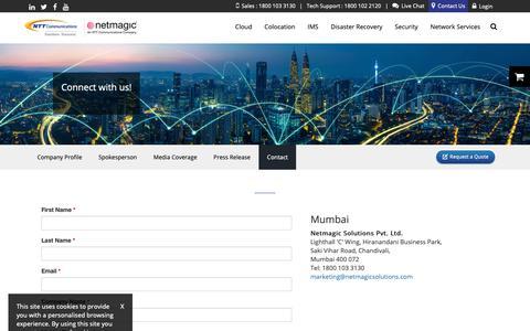 Screenshot of Contact Page netmagicsolutions.com - Contact Us - Netmagic - captured June 12, 2019