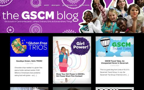 Screenshot of Blog gscm.org - Girl Scouts of Central Maryland | Where ordinary girls do extraordinary things. - captured Oct. 1, 2014