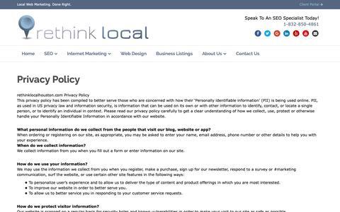 Screenshot of Privacy Page rethinklocalhouston.com - Privacy Policy - Rethink Local - captured Nov. 11, 2018