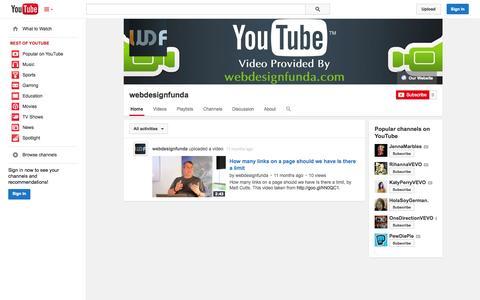 Screenshot of YouTube Page youtube.com - webdesignfunda  - YouTube - captured Nov. 4, 2014