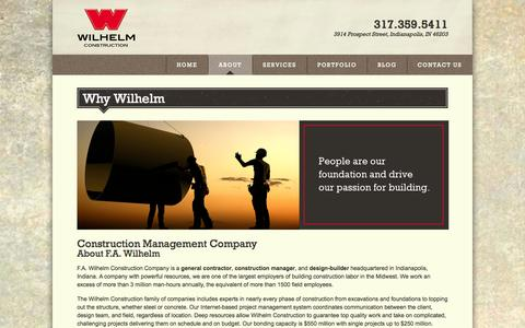 Screenshot of About Page fawilhelm.com - Why Wilhelm | Construction Management Company - captured Oct. 4, 2014