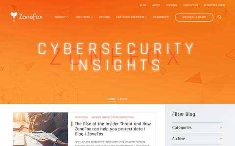 Screenshot of Blog zonefox.com - Latest Data Security News, From The Experts | Blog | ZoneFox - captured Oct. 19, 2018