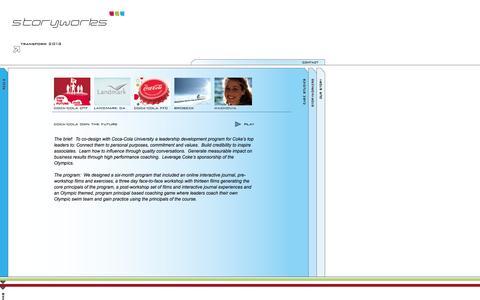 Screenshot of Case Studies Page storyworks.com - Storyworks :: Case Studies :: Coca-Cola Own the Future - captured Sept. 30, 2014
