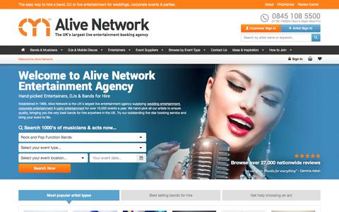 Screenshot of Home Page alivenetwork.com - Alive Network | Live Music Entertainment Agency Bands for Hire - captured June 24, 2017