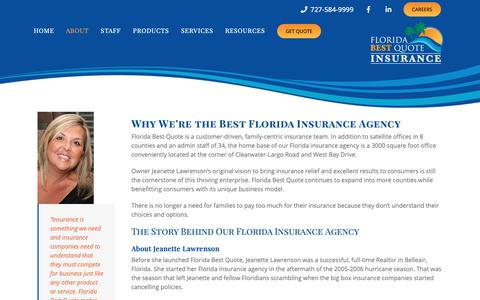 Screenshot of About Page floridabestquote.com - About - Florida Best Quote | Florida Insurance Agency - captured Dec. 9, 2018