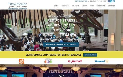 Screenshot of Home Page triciamolloy.com - Tricia Molloy, Leadership Speaker on Work-Life Balance and Achieving Goals - captured Oct. 18, 2018