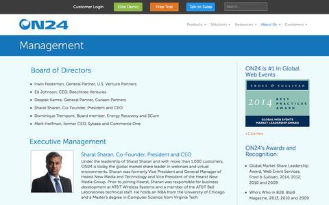 Screenshot of Team Page on24.com - Management - ON24 - captured Oct. 10, 2014