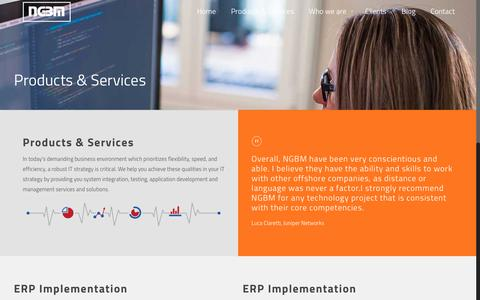 Screenshot of Services Page ngbm.net - Products & Services | NGBM, End-to-End Intelligent IT Solutions for Small, Medium and Large Enterprise - captured Feb. 16, 2016