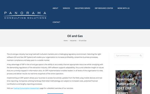 Oil and Gas ERP Systems - ERP Tailored to your Industry - Panorama