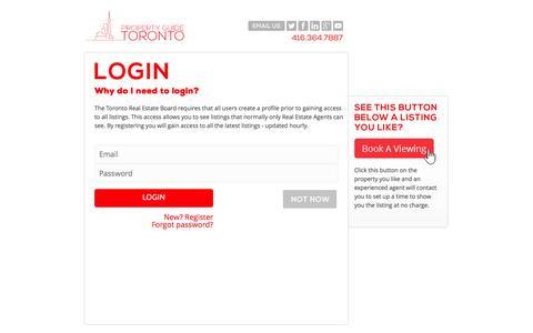 Screenshot of Login Page propertyguidetoronto.com - Login - captured Sept. 30, 2014