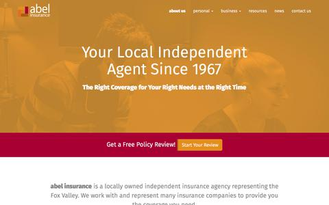 Screenshot of About Page abelins.com - About Us | abel insurance - captured Feb. 5, 2016